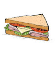 ham cheese tomato and lettuce sandwich vector image