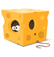 mouse eyes inside piece of cheese vector image