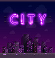 neon night city background cover retro vector image