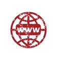 Red grunge www world logo vector image