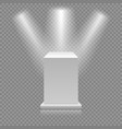 white empty podium isolated on transparent vector image