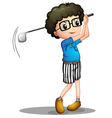 A young boy playing golf vector image vector image