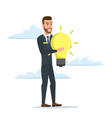 businessman holding the idea of holding a lamp vector image