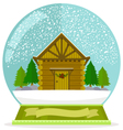cabin in a snow globe vector image