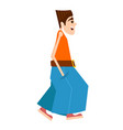 abstract figure of a young man in wide pants on a vector image vector image