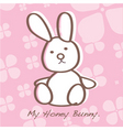 bunny rabbit on pink card vector image vector image