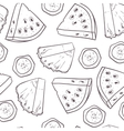 Hand drawn outline seamless pattern with pineapple vector image