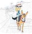 Beautiful girl on a donkey in Oia Santorini vector image