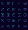 blogging blue icons set vector image