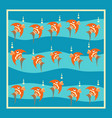 bright orange fish with bubbles on a blue vector image