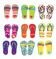 Flip flops funny designs vector image
