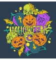 Halloween card with pumpkins and horror elements vector image
