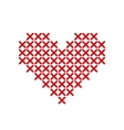 Hand-made red heart embroidered with a cross vector image