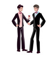 happy gay wedding couples holding hands vector image