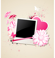 photo and flowers for Valentines day vector image