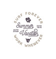summer vacation label surfing style emblem vector image