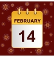 Valentine s day calendar icon on lace pattern vector image