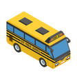 yellow small isometric bus with blue glass vector image