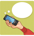 Woman hand with smartphone vector image vector image