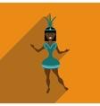 Flat web icon with long shadow Brazilian dancer vector image