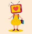 School Girl with TV Head vector image
