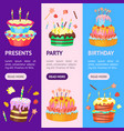 cartoon color cakes banner vecrtical set vector image