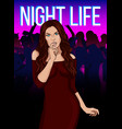 cartoon night party template vector image