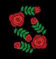 embroidery roses floral leaves pattern fashion on vector image