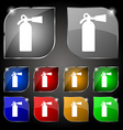 extinguisher icon sign Set of ten colorful buttons vector image