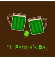 St Patricks Day Two clink green beer glasses vector image
