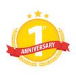 first anniversary circle badge with ribbon and vector image