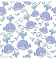 seamless pattern with doodle whales vector image vector image