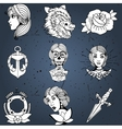 Tattoo designs set vector image