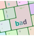 bad word on white button keyboard vector image
