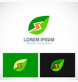 green leaf energy power logo vector image