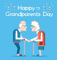 happy grandparents day with old people holiday vector image