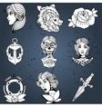 Tattoo designs set vector image