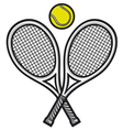 tennis rackets and ball vector image