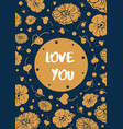 vintage floral card with text love you vector image