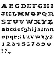 Vintage retro old aged typeface Stamped alphabet vector image