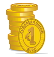 Golden coins with euro sign vector image