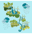 Green city eco friendly power elements vector image