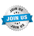 join us 3d silver badge with blue ribbon vector image