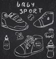 Baby shoes set sketch handdrawn on blackboard vector image