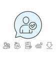 checked user line icon profile avatar sign vector image