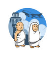 hajj kids and airport vector image