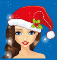 avatar girl with christmas hat vector image