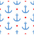 tile sailor pattern with red polka dots and anchor vector image