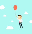 businessman with air red balloon up high and sky vector image vector image