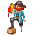 Pirate and parrot vector image vector image